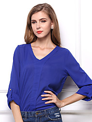 Women's Casual/Daily Boho Spring / Fall Shirt,Solid V Neck Long Sleeve Blue / Yellow Others Medium
