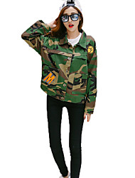 Women's Casual/Daily Street chic Fall Jackets,Camouflage Shirt Collar Long Sleeve Green Cotton Medium