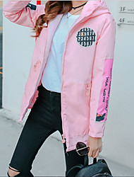 Women's Casual/Daily Street chic Coat,Solid Hooded Long Sleeve Winter Blue / Pink / Black Cotton Thick