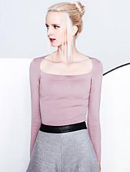 Damen Standard Pullover-Ausgehen Einfach Solide Schwarz / Lila Bateau Langarm Andere Frühling / Herbst Mittel Dehnbar