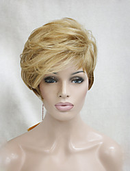 High Quality Heat Friendly Golden Blonde Ombre Short Asymmetrical Women's Wig