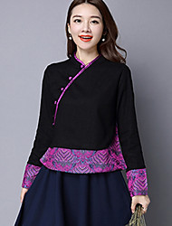 Women's Casual/Daily Chinoiserie Jackets,Solid / Embroidered V Neck Long Sleeve Fall Black Linen Medium