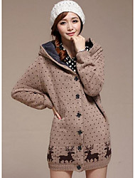 Standard Cardigan Da donna-Casual Semplice Con stampe Bavero classico Manica lunga Cotone Inverno Medio spessore Media elasticità
