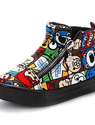 Girl's Boots Winter Comfort Canvas / Cotton Outdoor / Casual Flat Heel Zipper Red Walking / Sneaker