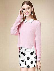 Damen Kurz Pullover-Lässig/Alltäglich Einfach Solide Rosa Rundhalsausschnitt Langarm Baumwolle Herbst Dünn Mikro-elastisch
