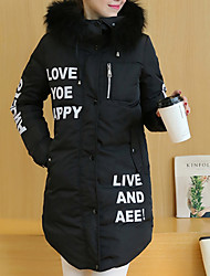Women's Long Padded Coat,Simple Casual/Daily Solid / Letter-Polyester Polypropylene Long Sleeve Hooded Multi-color