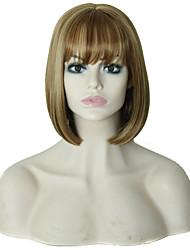 courte perruque de cheveux raides avec une frange couleur mélangée perruques synthétiques brunes et blondes pour les femmes