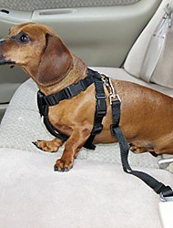 Cat / Dog Car Seat Harness/Safety Harness Adjustable/Retractable Solid Black Nylon