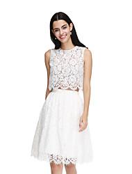 2017 Lanting bride® длиной до колен кружева элегантный платье невесты - это линия драгоценный камень с створкой