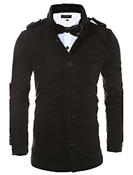 Men's Casual/Daily / Work Punk & Gothic Leather Jackets,Solid Shirt Collar Long Sleeve Fall / Winter Red / Black PU / Cotton Thick