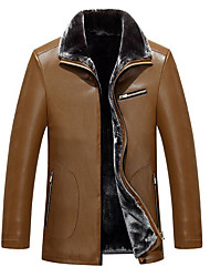 Men's Plus Size / Casual/Daily Simple Leather Jackets,Solid Long Sleeve Black / Green / Yellow Lambskin
