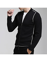 Men's Casual/Daily Simple Long Cardigan,Solid Red / Black / Gray / Green Stand Long Sleeve Cotton Fall Medium Micro-elastic
