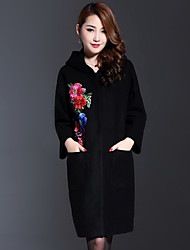 AINIER Women's Casual/Daily Chinoiserie CoatEmbroidered Hooded Long Sleeve Fall Black Wool / Polyester Medium