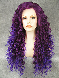 imstyle 26''awesome mezclar frontal largo y rizado de color púrpura pelucas sintéticas del cordón de la venta resistente al calor