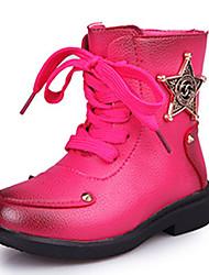 Girl's Boots Fall / Winter Comfort Leatherette Dress / Casual Flat Heel Zipper Black / Red Walking