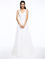 LAN TING BRIDE A-line Wedding Dress Beautiful Back Court Train V-neck Tulle with Appliques Beading Button Criss-Cross Flower