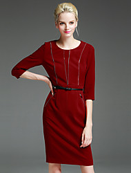 GATHER BEAUTY Women's Work Simple Sheath DressSolid Round Neck Above Knee  Sleeve Red / Gray Rayon / Nylon / Spandex Fall High Rise Micro-elastic