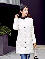 Women's Long Down Coat,Simple Casual/Daily Solid-Polyester White Duck Down Long Sleeve Red / White