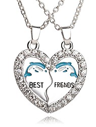 Necklace Best Friends Dolphin Pendant Necklaces Jewelry Party / Daily Unique Design Heart 1set
