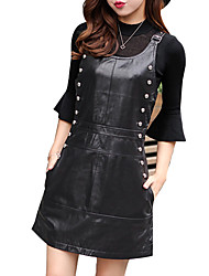 Women's Casual Dress Suspender SkirtLadies Leather skirt  6612