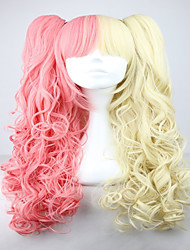 Famous Yellow and Pink Colorful Lolita Long Curly Two Braids Cosplay Lolita Wig