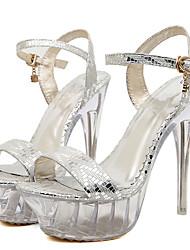 Mujer-Tacón Stiletto Plataforma Tacón de cristal-Plataforma-Sandalias-Boda Vestido Fiesta y Noche-PU-Plata Oro