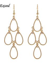 Gold/Hemitate/Black/Rose Gold/Silver Teardrop-Shaped With Crystal Hook Drop Earring