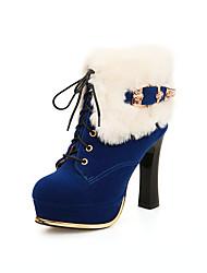 Damen-Stiefel-Lässig-PU-Blockabsatz-Modische Stiefel-Schwarz / Blau / Rot