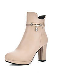 Women's High-Heels Solid Closed Round Toe Soft Material Zipper Boots