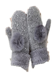 Wool Ladies Gloves (Grey Dot Drill)