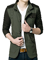Men's Going out / Casual/Daily Simple / Active Jackets Color Long Sleeve Fall / Winter Cotton / Acrylic k267