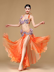 Belly Dance Outfits Performance Chiffon / Cotton / Polyester Beading / Crystals/Rhinestones / Paillettes / Flower(s) / Ruffles 2 Pieces