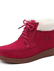Women's Boots Winter Gladiator / Comfort Suede Casual Flat Heel Lace-up Black / Brown / Pink Walking