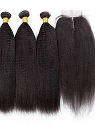4 Pieces Kinky Straight Human Hair Weaves Brazilian Texture 100grams 8inch to 30inch Human Hair Extensions