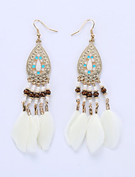 Europe And The United States National Wind Fashion Feather Tassel Earrings Dance Clothing Accessories