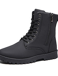 Men's Boots Winter Combat Boots PU Low Heel Chain / Lace-up Black / Brown Walking / Others