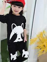 Girl's Casual/Daily Print Clothing SetCotton Fall Black / Red