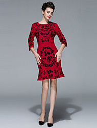 Women's Casual/Daily / Formal Vintage / Sophisticated Sheath Dress,Embroidered Round Neck Above Knee ¾ Sleeve Red / Black / Green Cotton