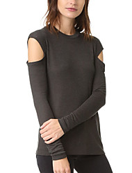 Damen Solide Einfach Lässig/Alltäglich T-shirt,Rundhalsausschnitt Herbst / Winter Langarm Grau Polyester Mittel