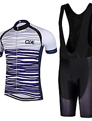 Sports QKI Cycling Jersey with Bib Shorts Men's Short Sleeve BikeBreathable / Quick Dry  / reflective stripe  / 5D coolmax gel pad
