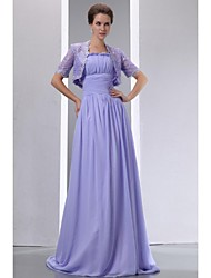 A-Line Spaghetti Straps Sweep / Brush Train Chiffon Lace Mother of the Bride Dress with Lace