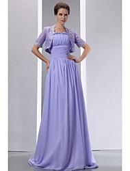 Uma linha de cintas de espaguete varredura / pincel de renda chiffon laço mãe do vestido de noiva com renda