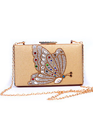 Women PU Formal/Event/Party / Office Career Evening Bag  Butterfly Crystal Clutch Bags Clutches Lady Wedding