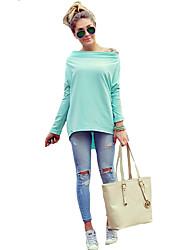 Tee-shirt Femme,Couleur Pleine Vacances Sexy Automne / Hiver Manches Longues Bateau Bleu Coton Moyen
