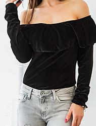 Damen Solide Sexy / Niedlich Ausgehen / Lässig/Alltäglich / Formal T-shirt,Bateau Alle Saisons Langarm Schwarz / Grau / Grün / Gelb