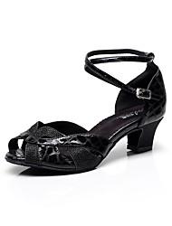 Sapatos de Dança(Preto / Prateado / Leopardo) -Feminino-Personalizável-Latina