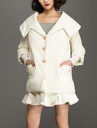 Feminino Longo Casaco Capa,Simples Sólido Casual-Poliéster Penas de Pato Branco Manga ¾ Decote V Branco