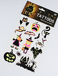 3 PCS Halloween Decorations Noctilucent Tattoo Stickers