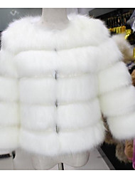 Women's Casual/Daily Simple Fur Coat,Solid Long Sleeve Winter White / Gray Fox Fur