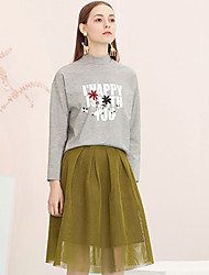 I'HAPPY Women's Solid Green SkirtsSimple Knee-length